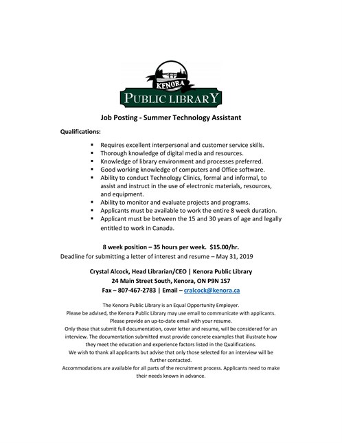 Summer Technology Assistant Job 2019